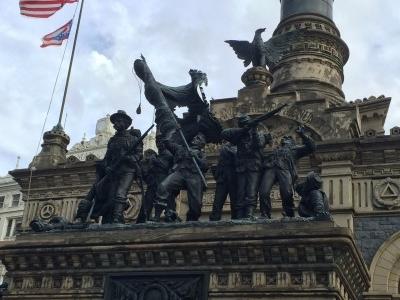The Color Guard bronze statue.