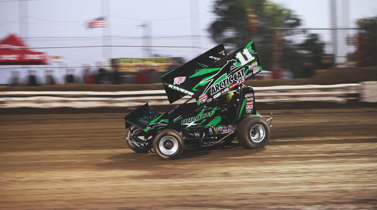 Kraig Kinser flies through turn 1 at Volusia, Florida for The 2016 DIRTcar Nationals | Photo: Jeffrey Turford