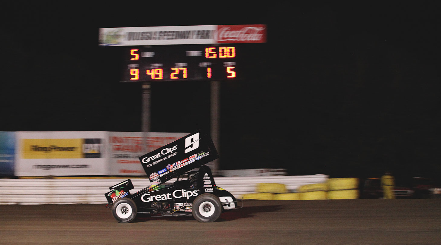 Daryn Pittman leading down the backstretch at Volusia Speedway in Florida.