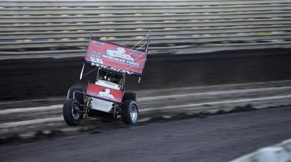 Greg Wilson captured his World of Outlaws feature win at Eldora Speedway in 2014