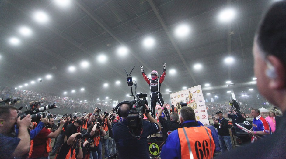 Bryan Clauson celebrates the Friday night Feature win in victory lane at the 2016 Chili Bowl. Clauson would later capture 2nd in the marquee event on Saturday night