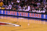 """I love this game"" is displayed at American Airlines Arena. Photo Credit: Daniel U"