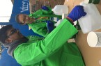 Nikhil Pal and Mengting volunteered at the 2015 New York City Marathon to set up the fluid station by filling water into cups.