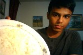 Ayman showing off his pregame rice!