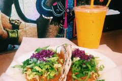 One of the most popular dish at Taco Mahal called the Chicken Tikka Roti Taco accompanied with a signature Indian drink, known as Mango Lassi. Photo Credit: Kelliana Seeraj ​​