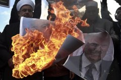 Palestinians burn President Trump's pictures in rage for his speech about Jerusalem said yesterday.  Source: Photo Credit: Josef Federman