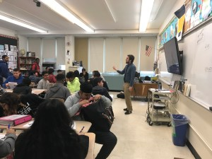 Caption: Eric Anderson teaching his 10th grade Global History Class. Photo Credit: Richard Ortiz