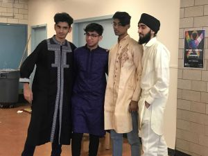 Some of the many young men dressed in their traditional clothing for Multicultural Day at Thomas A. Edison High School.