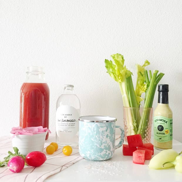 Ingredients for bloody mary bar