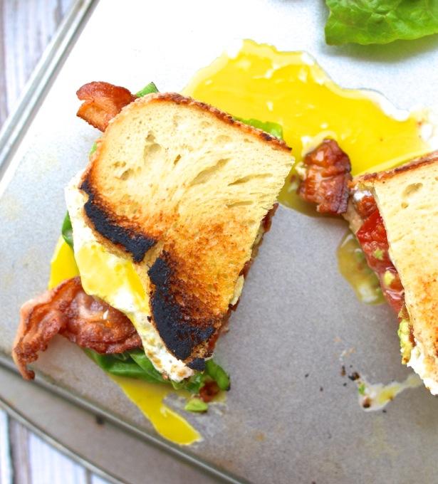 Sandwich, The BALTE: Bacon, Avocado, Lettuce, Tomato, with a runny Egg ...