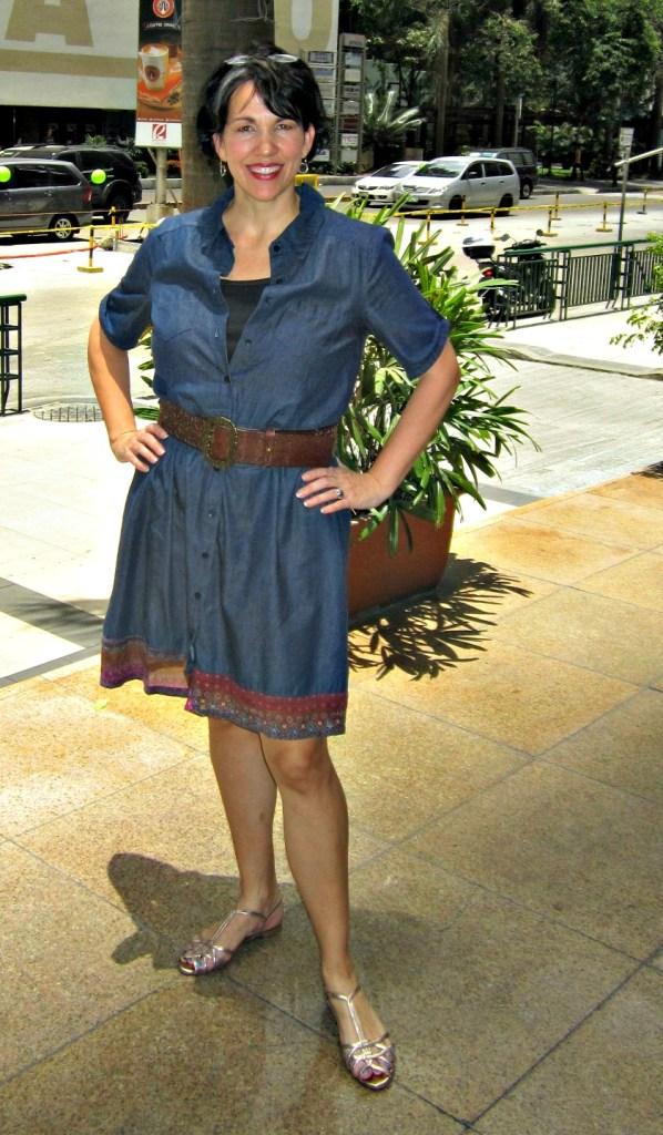 flattering way to wear a denim shirt dress