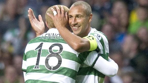 The SPL's best ever? Henik Larsson celebrates scoring a goal with current Celtic boss, Neil Lennon