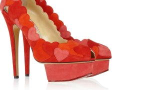 Charlotte Olympia Love Me heart-appliqud suede pumps