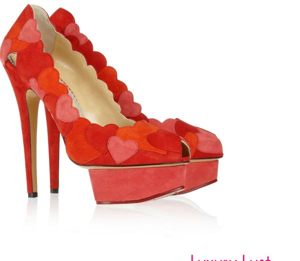 Charlotte Olympia Love Me heart-appliquéd suede pumps