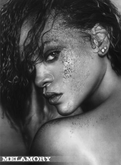 Rihanna Pencil Art Portrait by Olga Melamory Larionova