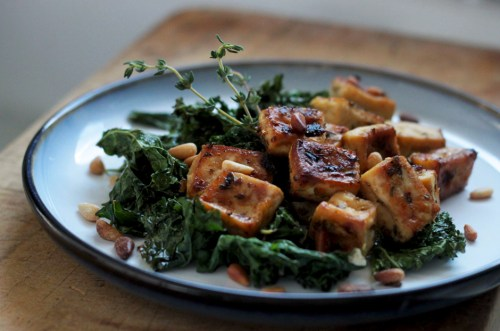 Roasted Tofu And Kale with Pine Nuts