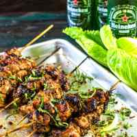 Spicy Thai Basil Chicken Kebabs