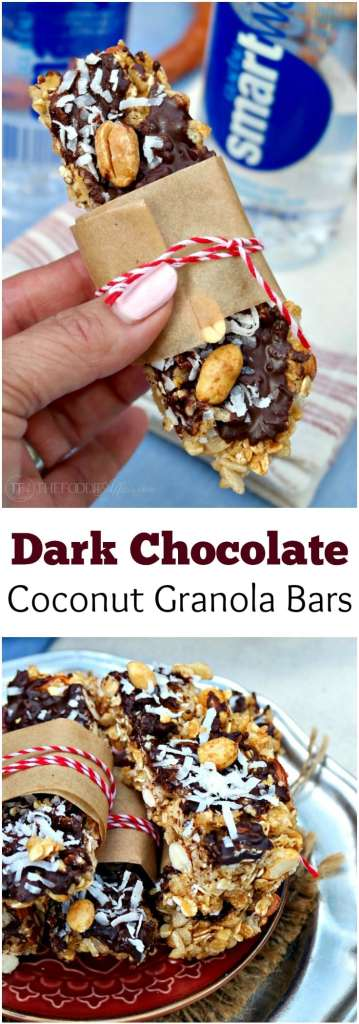 Layered dark chocolate, coconut and nuts are in this homemade granola bar! The Foodie Affair
