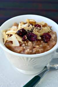 Make this healthy Apple Cinnamon Steel Cut Oatmeal right in your slow cooker. Add your favorite toppings and enjoy a creamy flavorful breakfast! The Foodie Affair