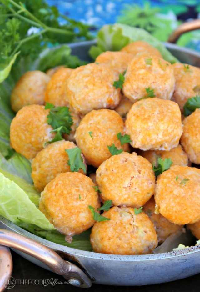 Bitesize buffalo chicken meatballs are a delicious appetizer to add to your next gathering. Dip them in homemade blue cheese dressing! The Foodie Affair