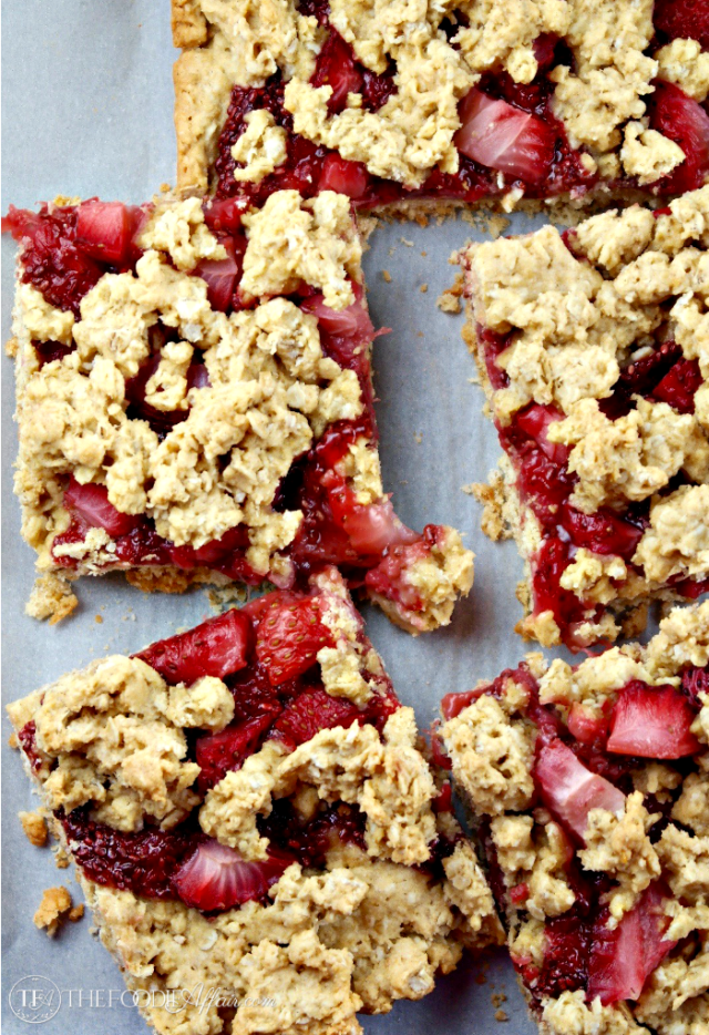 Strawberry Oat Bars with chia seed jam made without refined sugar. These bars are a tasty snack, breakfast bar or afternoon pick me up! The Foodie Affair