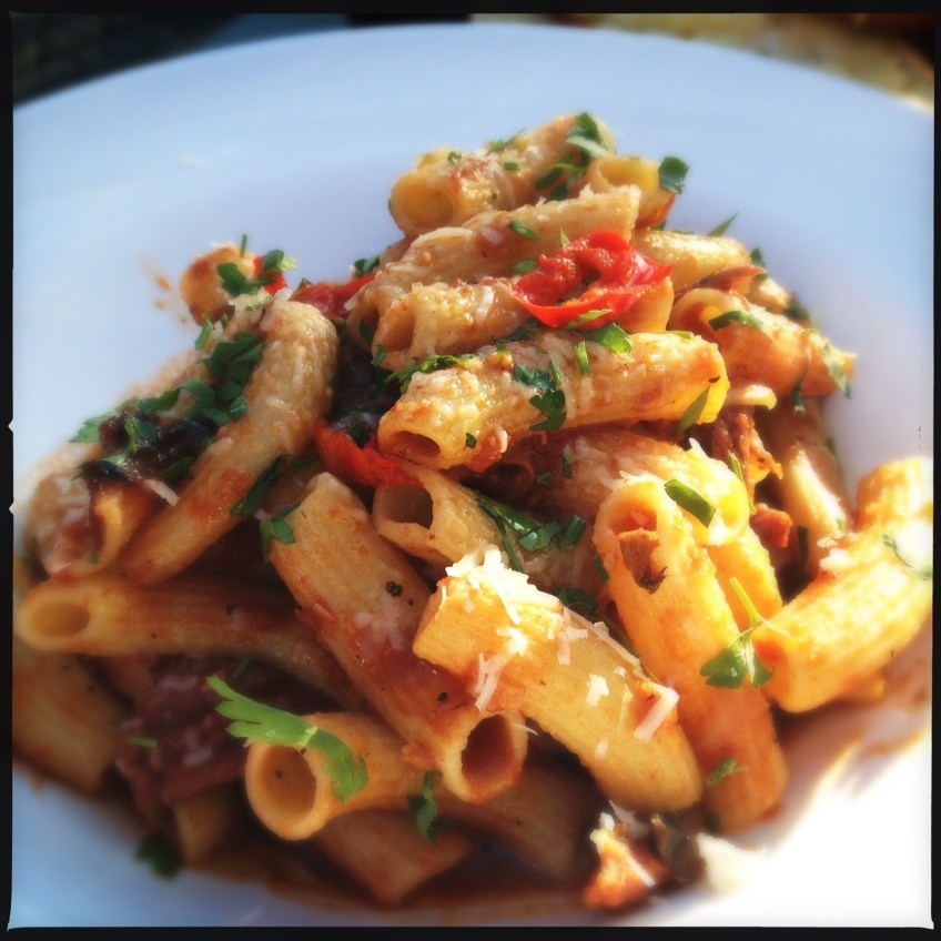 Oxtail Rigatoni with mushrooms, parmesan and pickled chili