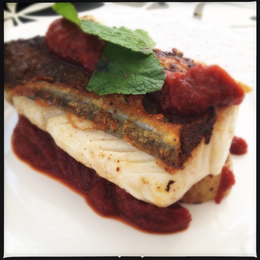 Salted Cod Fillet with dates tomato Pureé and mint