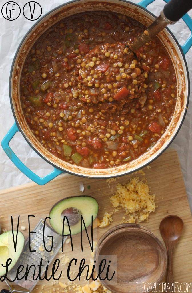 Vegan Lentil Chili -- TheGarlicDiaries.com