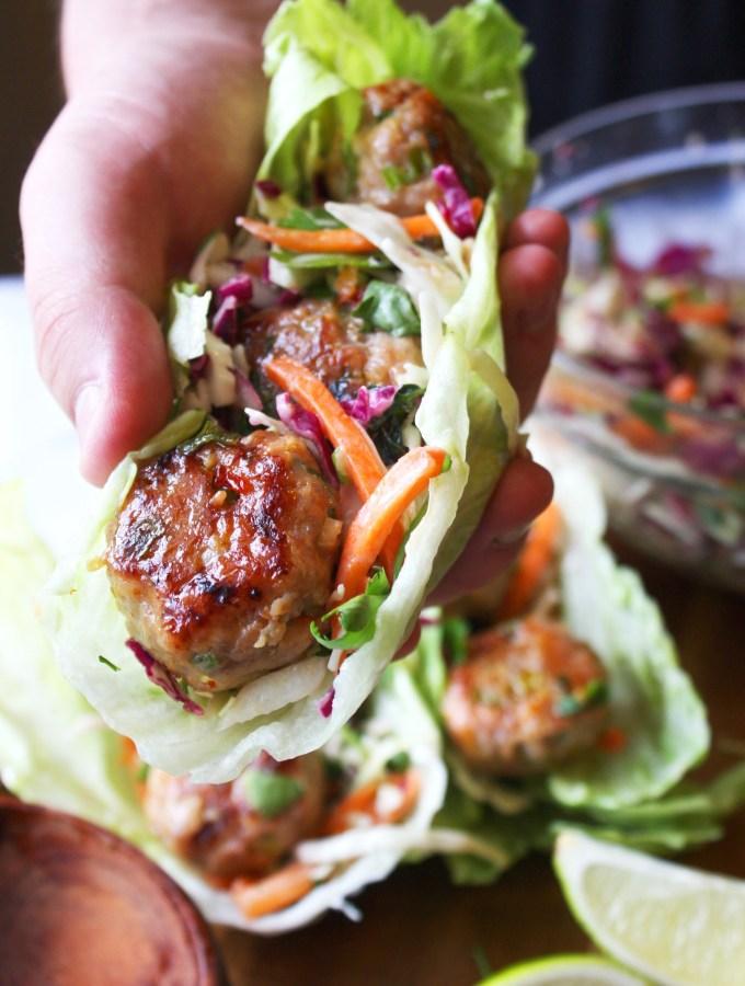 Thai Meatball Lettuce Wraps - TheGarlicDiaries.com