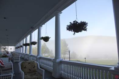 Morning mist from the veranda