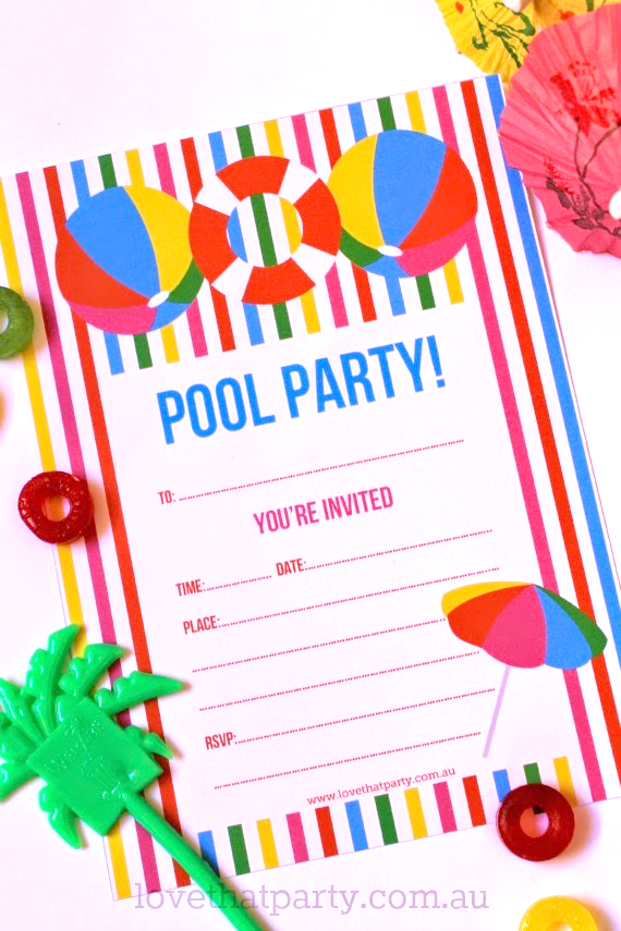 Free Printable Pool Party Invitations can inspire you to create best invitation template