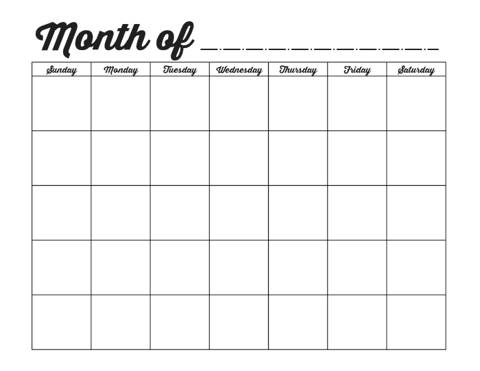 Blank Monthly Calendar | New Calendar Template Site