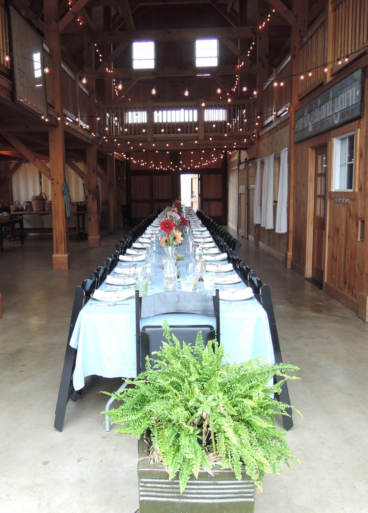 The farm table is set for some 60 diners at Turner Farm