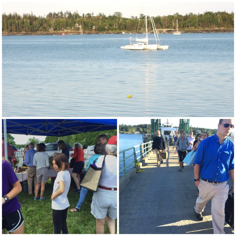 Daily rites of summer begin on North Haven Island: (clockwise: trimaran anchored in the Fox Island Thoroughfare; the daily departure from the North Haven Ferry and scenes of the Saturday farmer's market, the first of the season