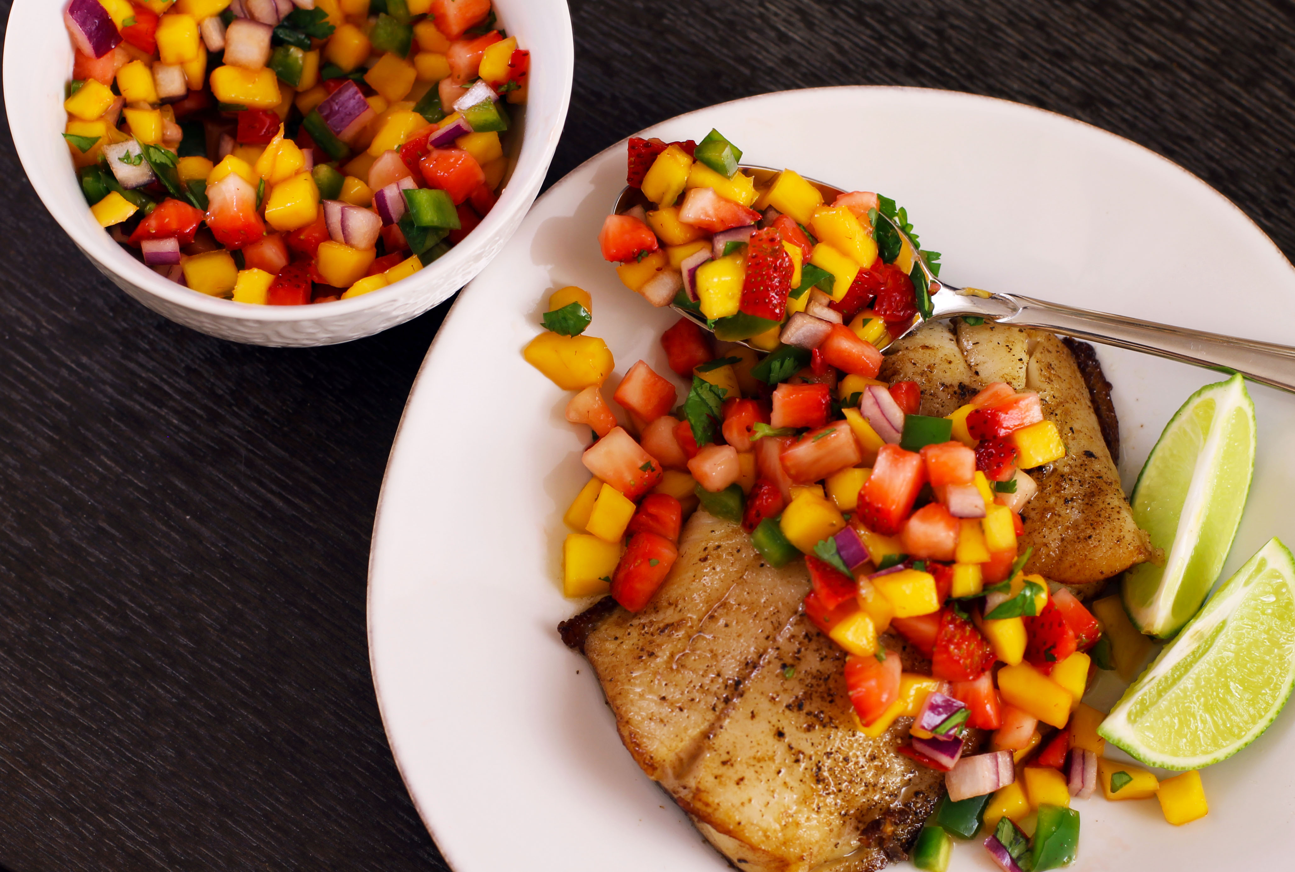 Black Cod with Strawberry-Mango Salsa