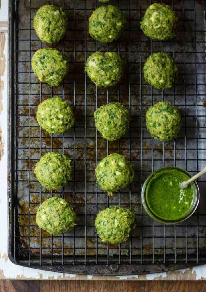 Spanakopita Chicken Meatballs + Spinach-Dill Pesto