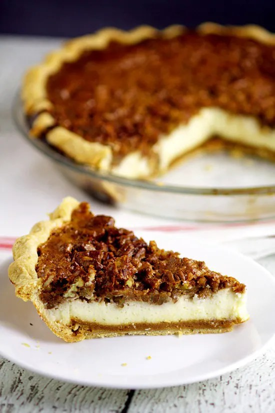 ... pecan pie filling, crunchy pecans and creamy cheesecake. Pecan pie