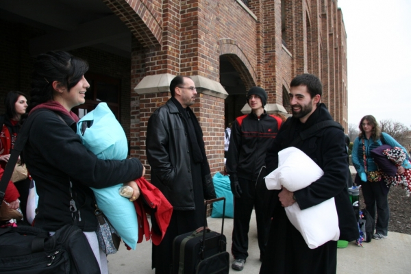 Monks meet for Benedictine College's epic March for Life journey.