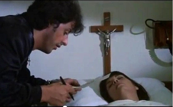 Rocky visits Adrienne after praying in front of the tabernacle in Rocky II.