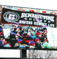 The March for Life jumbotron.