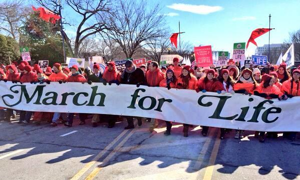 Benedictine College was chosen to hold the lead-off banner in the March for Life, thanks to Gregorian Fellow Kathryn Brown. (Photo BC CIrcuit/Adam Burns)