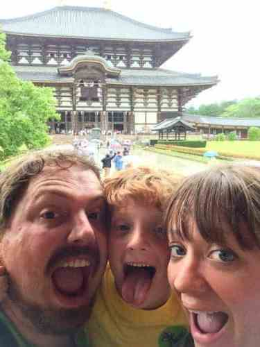 Family selfie at the Todai-ji temple in Nara, Japan