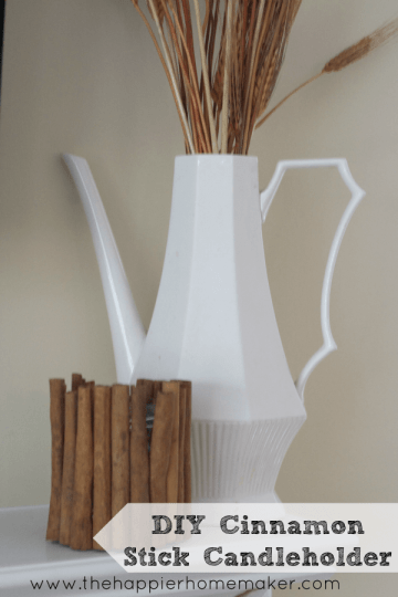 rustic cinnamon stick candle holder brown white pitcher wheat