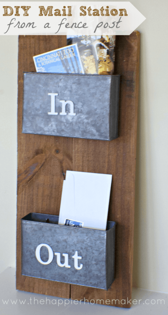 DIY mail sorting station fence post repurposed upcycled rustic pottery barn