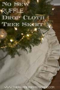 drop cloth ruffle tree skirt diy no sew