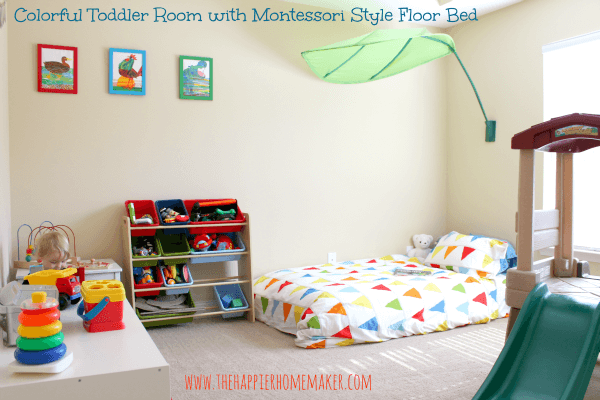 bright and colorful toddler nursery the happier homemaker. Black Bedroom Furniture Sets. Home Design Ideas