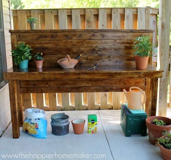 headboard diy potting bench