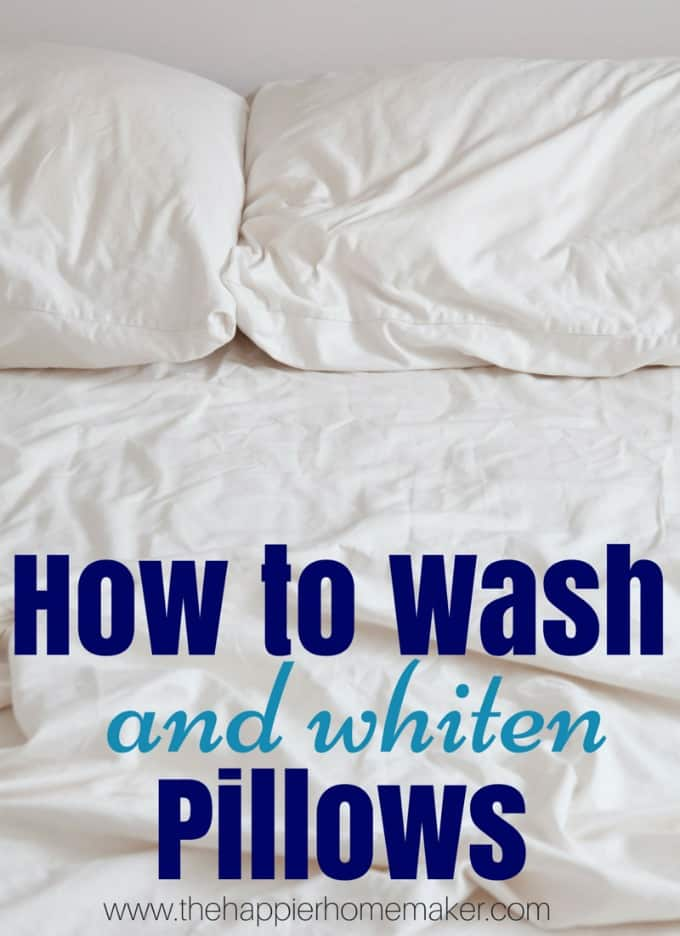 how to wash and whiten pillows the happier homemaker. Black Bedroom Furniture Sets. Home Design Ideas