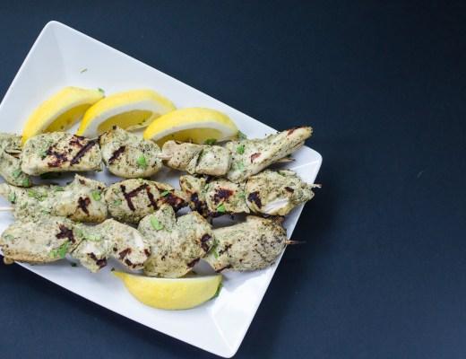 Cilantro-Mint Yogurt Marinated Chicken Kebabs ~ Murgh Malai Kabab