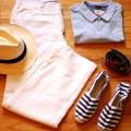 Poloshirt, linen pants,panama hat, espadrilles